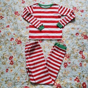 Carters Christmas Red White Striped Pajamas 7